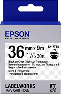 1 roll label tape Consumables  Labels Roll for LabelWorks LW-1000P LW-900P LW-Z900FK - s 3.6 cm x 9 m Black on transparent Epson C53S657007 LabelWorks LK-7TBN