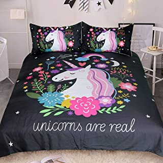 Sleepwish Unicorn Bedding 3 Piece Flower Girl Bedding Set Cartoon Unicorn Pink Black Bedspreads Cute Duvet Cover for Teens Unicorn Twin Bed Set