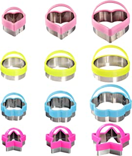 Cookie Cutters Set for kids- Including Round, Flower, Heart, Star Cookie Cutters Shapes, Vegetable Cutters Shapes for Kitchen, Baking, Halloween & Christmas (12 Pcs)