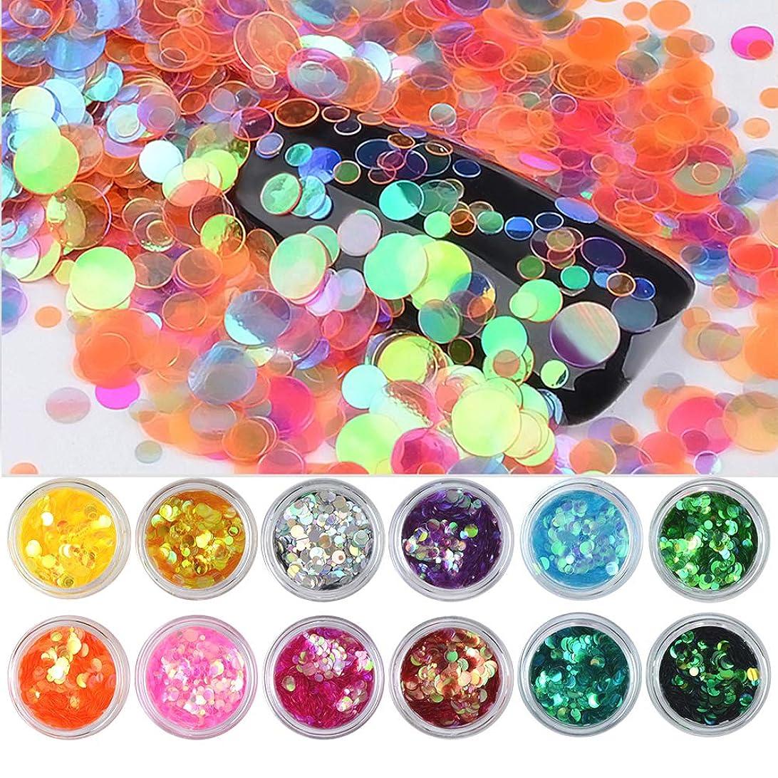 バリケード求人中メーリンドス ネイルデコレーションパーツ ミックスカラフルマーメイドスパンコール丸形 周りの光線により色が変わられて魅力的なパーツ 12種カラー 2mm/3mm/5mm入り ケース付け