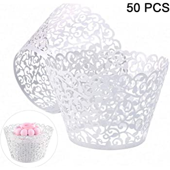 Cupcake Wrappers 50pcs/pack White Lace Cupcake Liners Laser Cut Cupcake Papers Cupcake Cups Cases for Wedding/Birthday Party Decoration(White 50Pack)