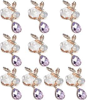 Harilla 10 x enfeites de liga de cristal rosa com botões de decoração de joias 24 mm