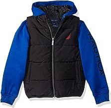 Nautica Boys' Midweight Water Resistant Hybrid Fleece Hoody Quilted Vest