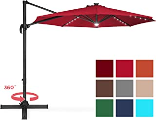 Best Choice Products 10-Foot Solar LED 360 Degree Aluminum Polyester Cantilever Offset Market Patio Umbrella Shade w/Easy Tilt and Smooth Gliding Handle, Red