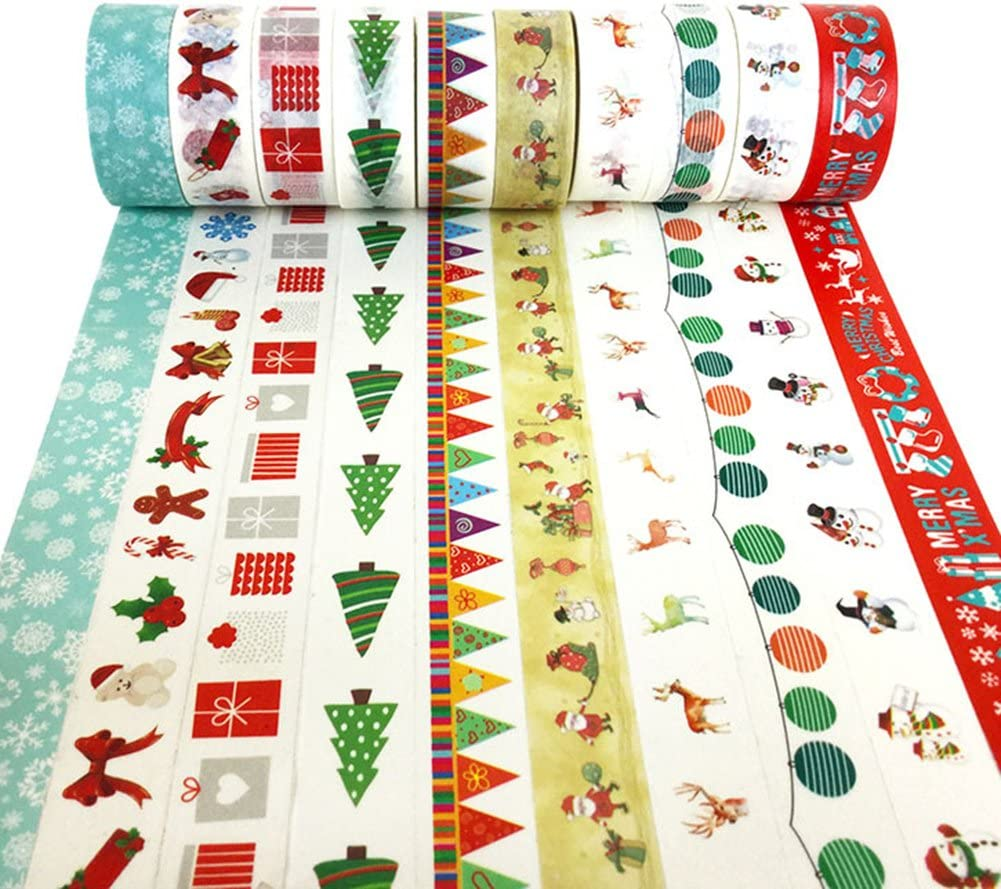 Style A Assortment of Christmas Holiday Designs /& Shapes XYBAGS Christmas Decorative Washi Tape,Set of 10 Rolls