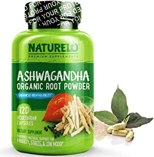NATURELO Ashwagandha Organic Root Powder - Natural Herbs Supplement - Best for Occasional Anxiety, Stress Relief, Mood Enhancer, Thyroid Support - with Black Pepper Extract - 120 Vegan Capsules