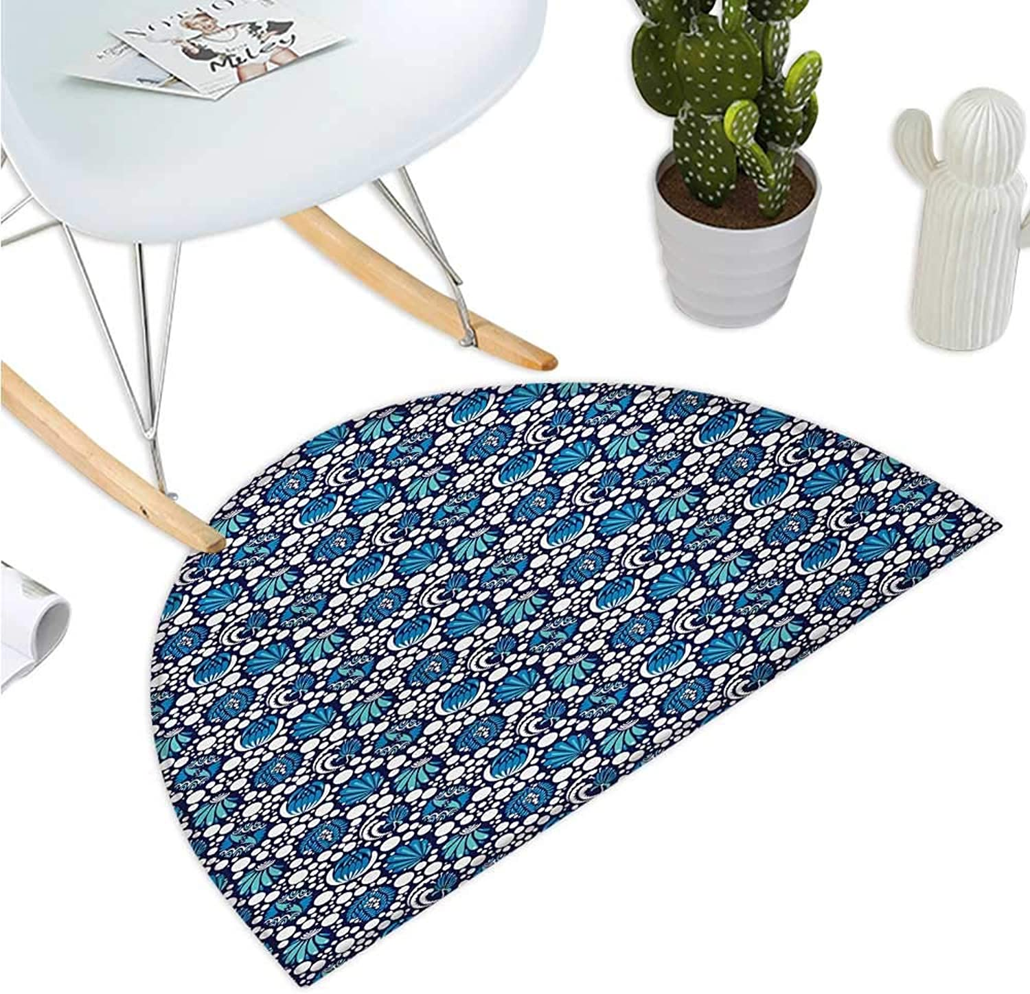 bluee and White Semicircle Doormat Sea Inspired Abstract Composition with Floral Elements and Dots Halfmoon doormats H 43.3  xD 64.9  bluee Turquoise White