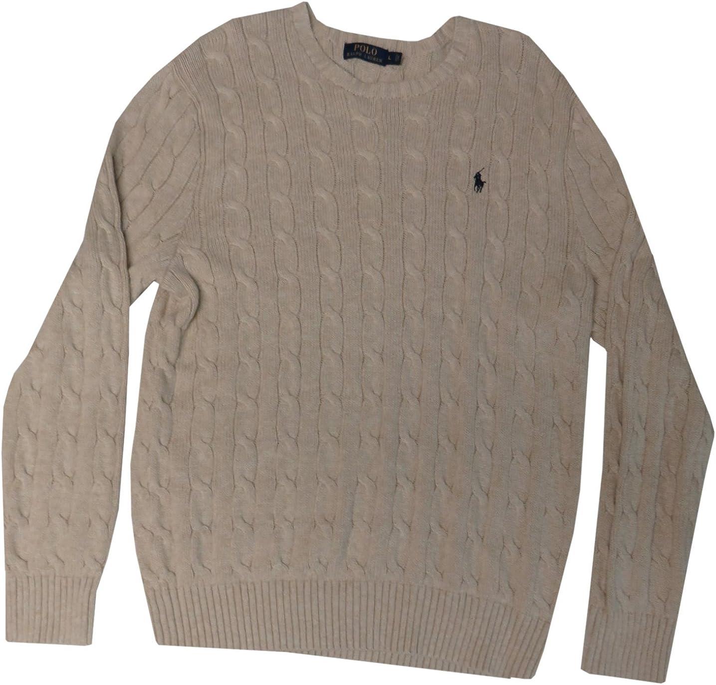 LAUREN RALPH LAUREN Women's Pullover Cableknit Sweater, Size Large, Oatmeal/Tan
