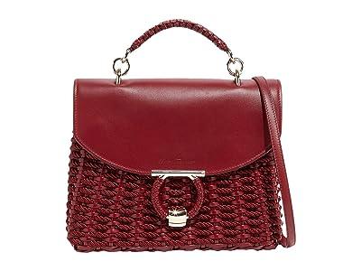 Salvatore Ferragamo Margot Cord Satchel (Carmine) Handbags