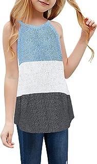 Girl's Sleeveless Knit Tops Color Block Halter Neck Cami Loose Summer Tank Shirts