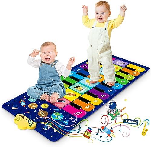 RenFox Tapis de Jeu pour Enfant, Tapis Musical Tapis de Danse avec 8 Instruments et 20 Touches, Jouets Educatifs Cade...