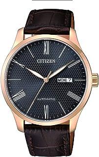 ساعة ميكانيكية للرجال من سيتيزن، بعرض انالوج وسوار من الجلد - NH8353-00H