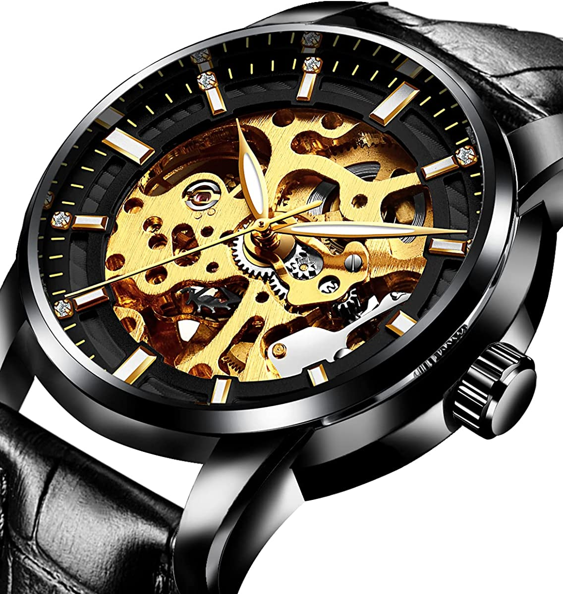 Men Mechanical Stainless Steel Movment Skeleton Very popular! Automatic Animer and price revision Watch