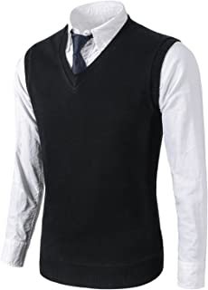 Mens Casual Slim Fit Knit Vest Sweater