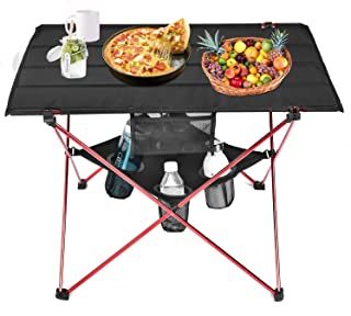 Grepatio Lightweight Camp Table - 4 Mesh Cup Holders and Carrying Bag Included, Folding Camping Table for Picnic, BBQ, Fishing, Hiking