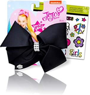 JoJo Siwa Bows Signature Basic Hair Bows Collection for Girls Bow Bundled with Best Friends Forever BFF Temporary Tattoos (Black with Gems Small)