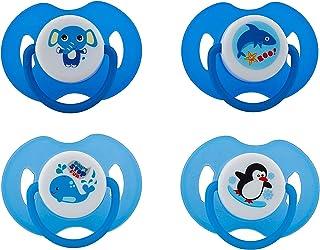 Avima Infant Pacifiers, 6-12 Months. Orthodontic Nipple. Blue. Set of 4 with 2 Bonus Sterilizer Cases