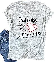 Baseball Mom T-Shirt Women Letter Print Funny Tops Short Sleeve Casual Tee