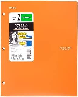 Five Star 2 - Pocket Folder, Stay-Put Tabs, Plastic,(38060)(ORANGE)