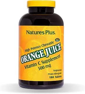 NaturesPlus Orange Juice Chewable Vitamin C - 500 mg, 180 Tablets - High Potency Immune Support Supplement, Antioxidant - Gentle On Stomach -Vegetarian, Gluten-Free - 180 Servings