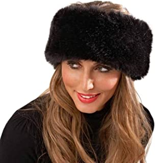 7ad1fff6510 DOSOMI Winter Fur Hat for Women Faux Fluffy Fox Fur Hat Headband Russian  Thick Warm Ears