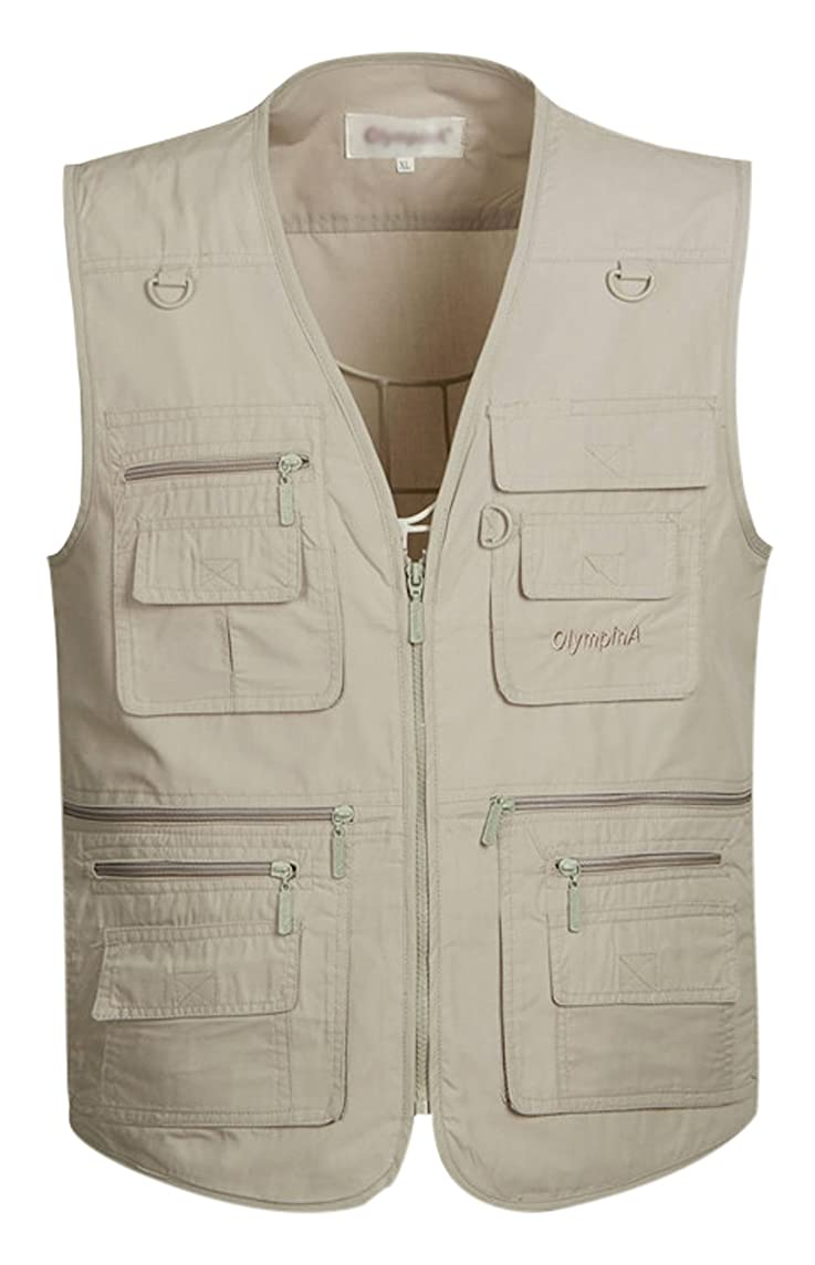 Gihuo Men's Summer Outdoor Work Safari Fishing Travel Vest with Pockets
