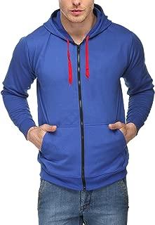 Scott International Men's Premium Cotton Blend Pullover Hoodie Sweatshirt With Zip - Royal Blue