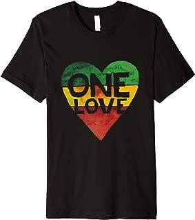 One Love Heart Rasta Reggae Roots Clothing Tee Shirt Gift