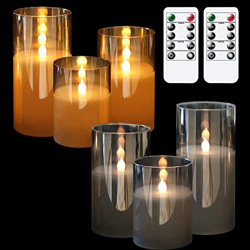 discount GenSwin Flameless LED Glass Candles Bundle, 3 online sale Pack outlet sale Gray Glass 3 Pack Gold Glass Flameless Candles with 2 Remotes, 3 Inch Diameter 4 5 6 inch Tall outlet online sale