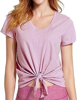 CRZ YOGA Women's Pima Cotton Workout Short Sleeve V-Neck Tie T Shirt Tops