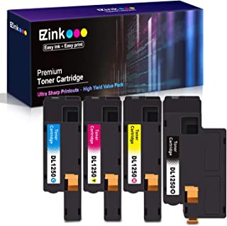 E-Z Ink (TM) Compatible Toner Cartridge Replacement For Dell 1250 810WH C5GC3 XMX5D WM2JC to use with 1250c C1760nw C1765nfw 1350cnw 1355cn 1355cnw printer (1 Black, 1 Cyan, 1 Magenta, 1 Yellow)4 Pack