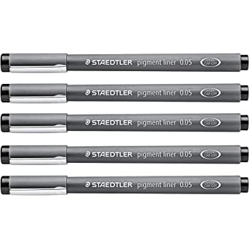 Staedtler Pigment Liner 0.05 mm Black [Pack of 5 ]