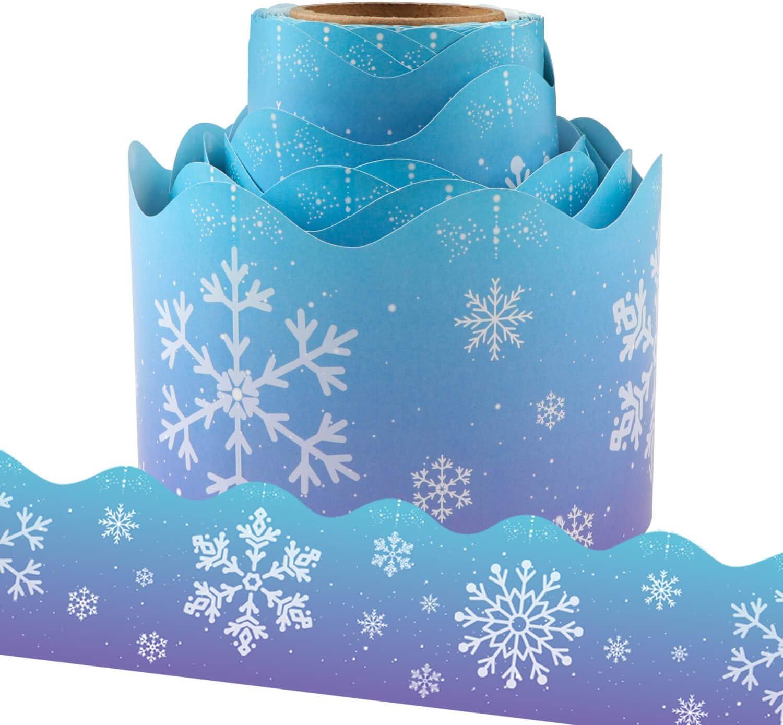 Yoklili Christmas Snowflakes Bulletin Max 42% OFF Board for Limited price Clas Trim Border