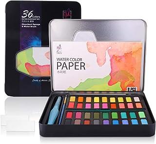 Diealles Shine Set de Pinturas de Acuarela, 36 Colores Pigmento Sólido Set mit 10 Papels para Artistas Principiantes, Afic...