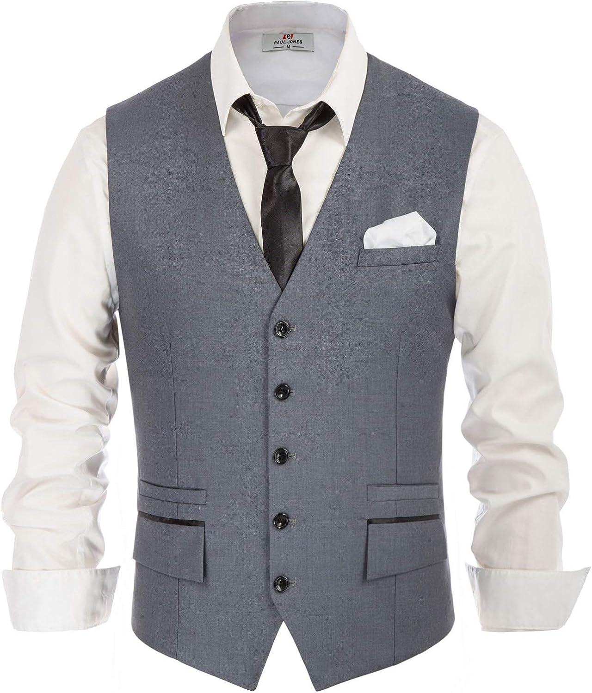 Men's 4pc Formal Vest Set Necktie Bowtie and Pocket Square Suit Vest Waistcoat for Wedding, Party