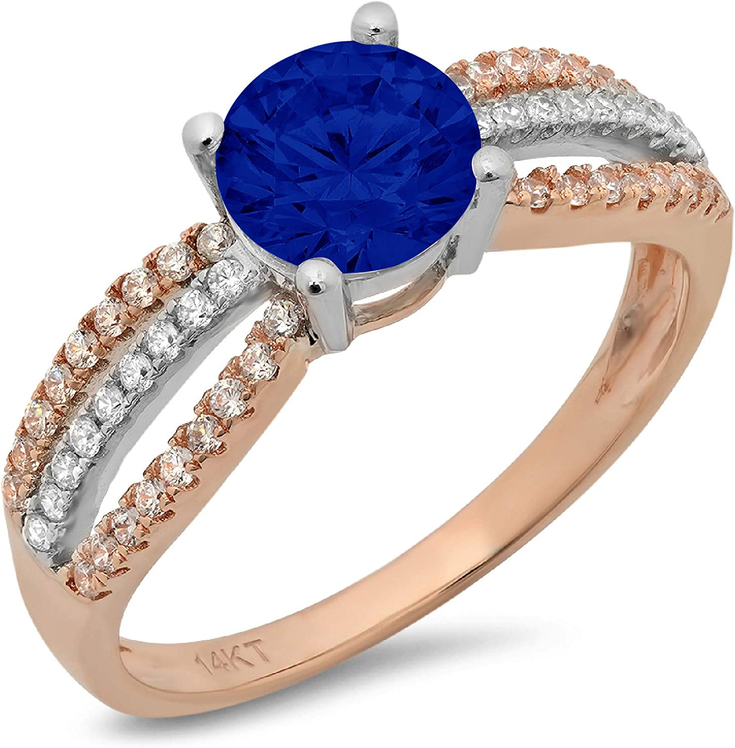 1.19ct Round Cut Solitaire with accent Flawless Ideal Genuine Cubic Zirconia Blue Sapphire Engagement Promise Statement Anniversary Bridal Wedding with accent Designer Ring Solid 14k 2 tone Gold