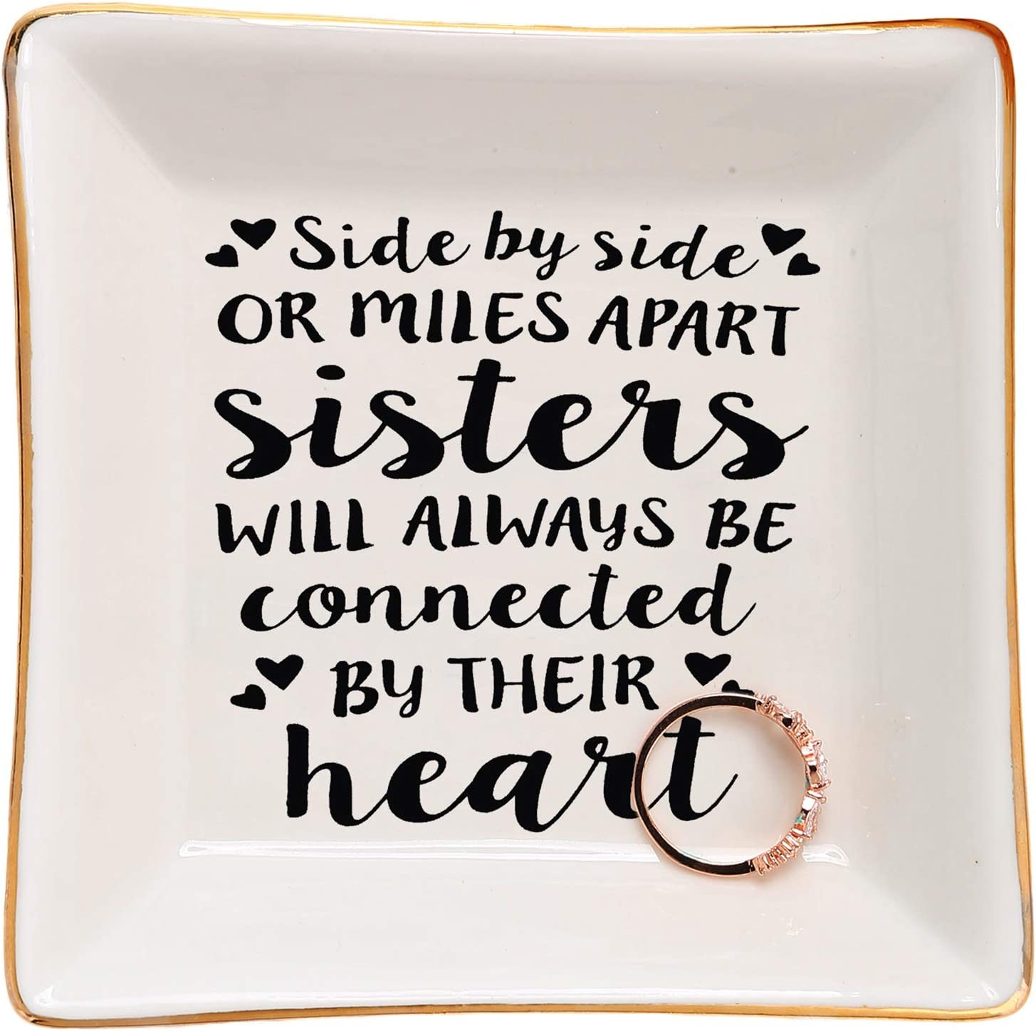 Forever My Friend Decorative Ring Dish Ceramic Square and Heart Shape Gifts for Sister Birthday Sister Birthday Gifts from Sister- Sister Gift Graduation Gifts for Her- Always My Sister