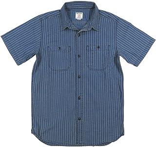 [ヒューストン] シャンブレー 半袖 ウォバッシュストライプ ワークシャツ 40847