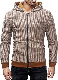 MogogoMen Plaid Hooded Cardi Outwear Zipper Long-Sleeve Tracksuit Top