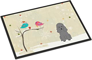 BIRSY Christmas Presents Between Friends Poodle Silver Indoor Or Outdoor Mat 24x36 BB2540JMAT Multicolor 16x24(IN)