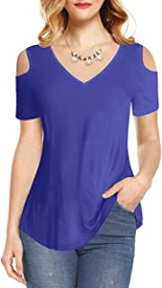 Summer Blouse Short Sleeves Tunic Cold Shoulder Tops Shirts for Women