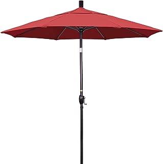 California Umbrella 7.5' Round Aluminum Market Umbrella, Crank Lift, Push Button Tilt, Bronze Pole, Sunbrella Henna