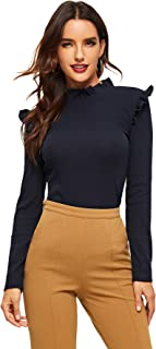 Romwe Women's Stand Collar Slim Fit Frilled Ruffles Shoulder Solid Keyhole Blouse Top