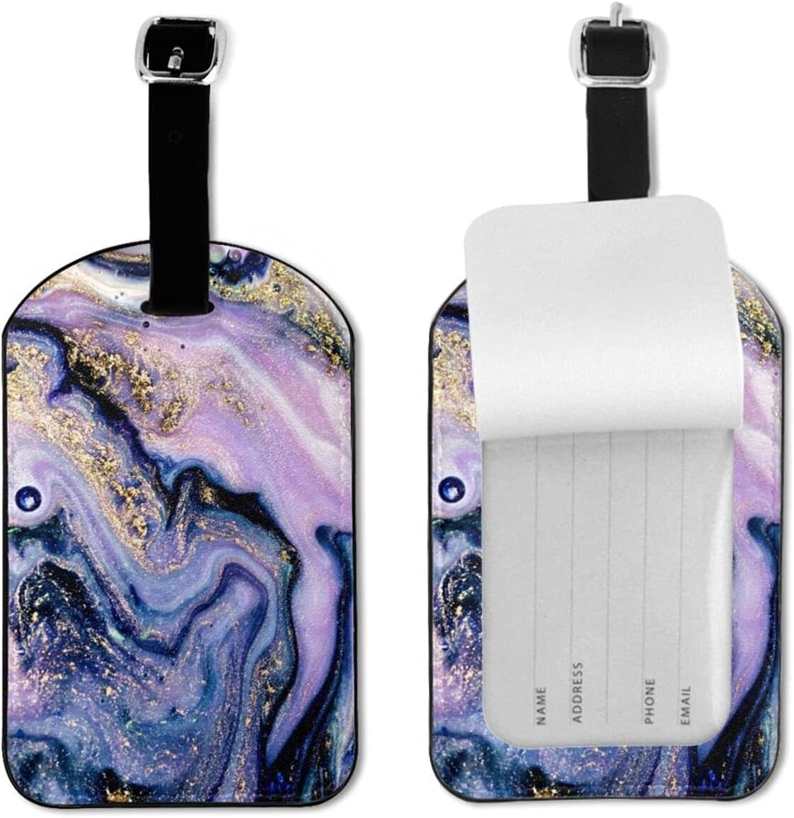 Purple Marble Texture Luggage Seasonal Wrap Introduction Tags Rare for PU Leather Travel