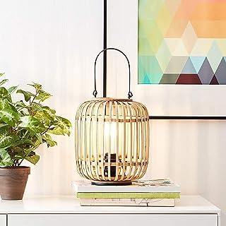 Lampe de table décorative Nature - 1 ampoule E27 max. 60 W - En métal et rotin - Marron clair/noir