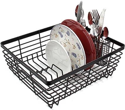 Esylife Kitchen Dish Drainer Plate Drying Rack With Full Mesh Utensils Basket Holder Black Amazon Co Uk Home Kitchen