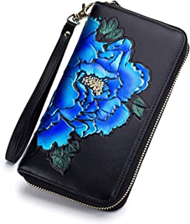 Baellerry RFID Wallets for Women Leather Purses for Women Credit Card Holder (Blue)