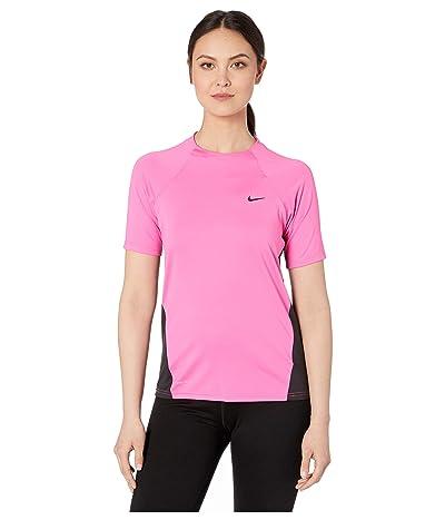 Nike Solid Short Sleeve Hydroguard (Laser Fuchsia) Women