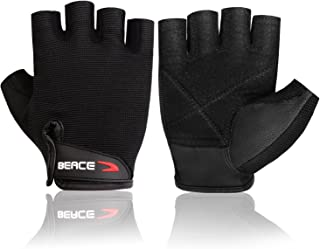 BEACE Weight Lifting Gym Gloves with Anti-Slip Leather Palm for Workout Exercise Training Fitness and Bodybuilding for Men & Women