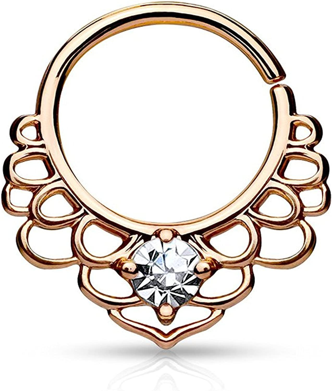 Covet Jewelry CZ Lotus Filigree All Brass Bendable Septum/Cartilage Rings